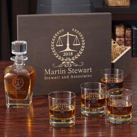 Personalized Thurgood Whiskey Glass and Decanter Set