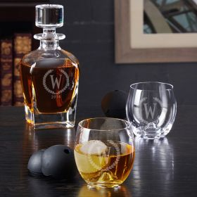 Statesman Draper Whiskey Decanter and Roller Rock Gift Set