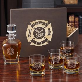 Fire & Rescue Personalized Liquor Decanter Set for Firefighters