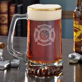 Fire & Rescue Engraved Gold Rim Beer Mug