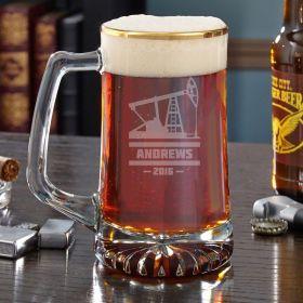 Oilfield Gold Rim Custom Beer Mug