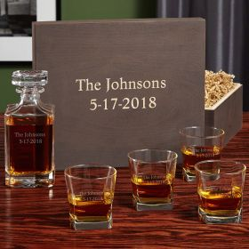 Carson Engraved Whiskey Decanter Set with Wood Gift Box