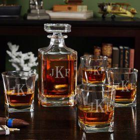 Carson Monogrammed Liquor Decanter Set with Rocks Glasses