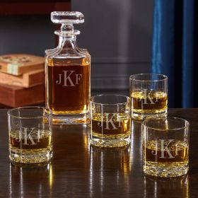Classic Monogrammed Glasses and Decanter Set