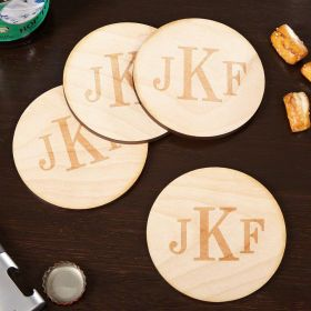 Classic Monogram Handcrafted Wood Coasters, Set of 4