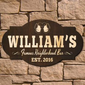 Famous Neighborhood Bar Personalized Sign (Signature Series)