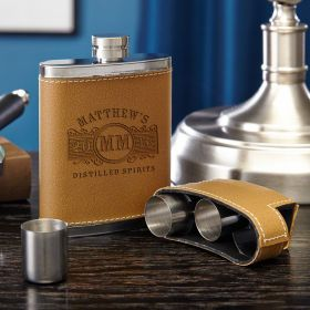 Marquee Flask with Shot Glass Gift Set