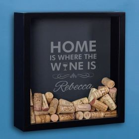 Where the Wine Is Etched Cork Shadow Box for Wine Lovers