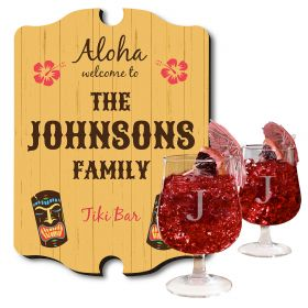 Personalized Tiki Bar Sign and Hurricane Glass Set