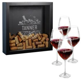 Engraved Turley Shadow Box and Oakmont Wine Glasses