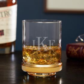 Classic Monogram Gold Band Etched Rocks Glass