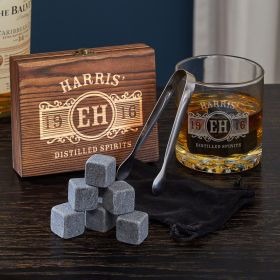 Marquee Engraved Whiskey Chilling Stones Rocks Glass Set