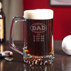 World's Best Dad - Engraved Beer Mug Gift for Dads
