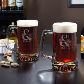 Love & Marriage Personalized Beer Mugs, Set of 2