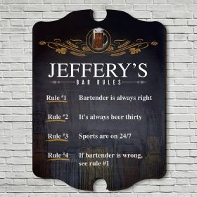 Code of Ethics Personalized Wooden Bar Sign