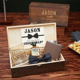 Classic Groomsman Large Wooden Box Mens Gift Set