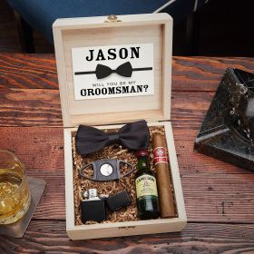 Wilshire Personalized Wooden Crate for Cigar Lovers Groomsmen Gift Set