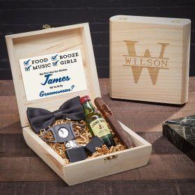 Oakmont Etched Wooden Crate Groomsmen Gift Set for Cigar Lovers