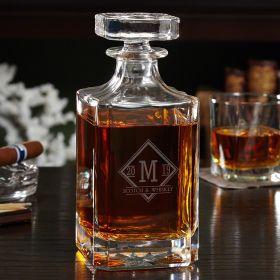 Drake Engraved Glass Liquor Decanter