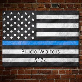 Proud to Serve American Flag Wall Art Gift for Police Officers