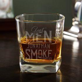 Great Men Smoke Cigars Custom Square Whiskey Glass