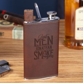 Great Men Smoke Cigars Personalized Brown Leather Flask