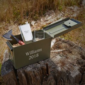 Tomahawk Ammunition Box Personalized Liquor Gift Set