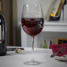 Marquee Etched Wine Glass