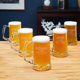 Classic Groomsman Custom Beer Mugs - 5 Groomsmen Gifts