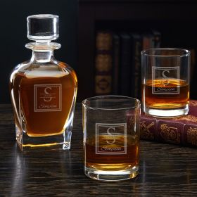 Oakhill Etched Decanter Set with Rocks Glasses