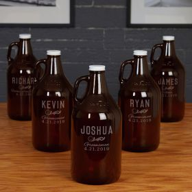 Classic Groomsmen Personalized 64 Oz Growlers for Groomsmen – Set of 5