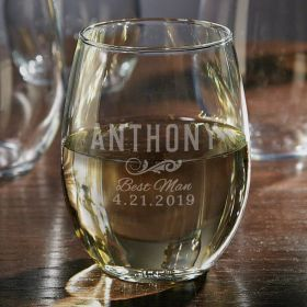 Personalized Classic Stemless Wine Glass - Groomsman Gift
