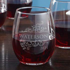 Livingston Engraved Stemless Red Wine Glass