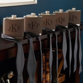 Classic Monogram Personalized Fitzgerald Flasks for Groomsmen – Set of 5