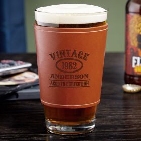 Aged to Perfection Custom Leather Wrapped Vintage Beer Glass