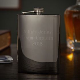Personalized Gunmetal Liquor Flask