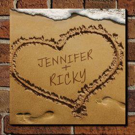 Heart in Sand Custom Sign - Gift for Couples