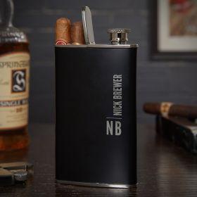 Calvin Engraved Stainless Steel Black Cigar Flask