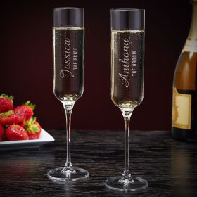 Lassarre Engraved His and Hers Champagne Glasses