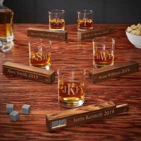 Classic Monogram Personalized Whiskey Gift Ideas for Groomsmen – Set of 5