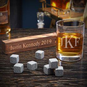 Classic Monogram Personalized Whiskey Stone Gift Set