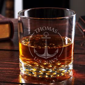 Naval Anchor Personalized Buckman Rocks Glass – Navy Gift