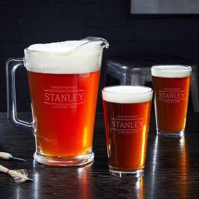 Stanford Custom Beer Glasses & Pitcher - Gift for Groomsmen
