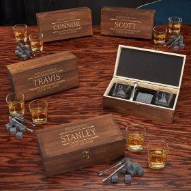 Stanford Shot Glass & Whiskey Stones Custom Groomsmen Gift Boxes – Set of 5