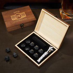 Marquee Engraved Diamond Whiskey Stones Gift Set