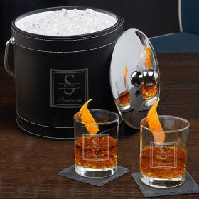 Oakhill Personalized Ice Bucket and Glasses Cocktail Gift Set