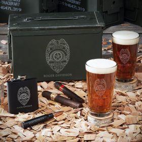 Police Badge Engraved 50 Caliber Box Set – Gift for Police Officers