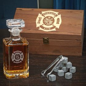 Fire & Rescue Custom Decanter Gift Set for Firefighters