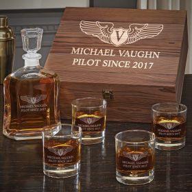 Take Flight Custom Whiskey Gift Set for Pilots