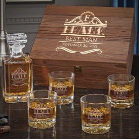 Rockefeller Personalized Whiskey Decanter Set